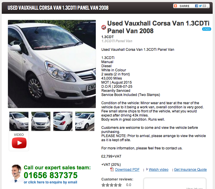 Ford Vans currently on offer