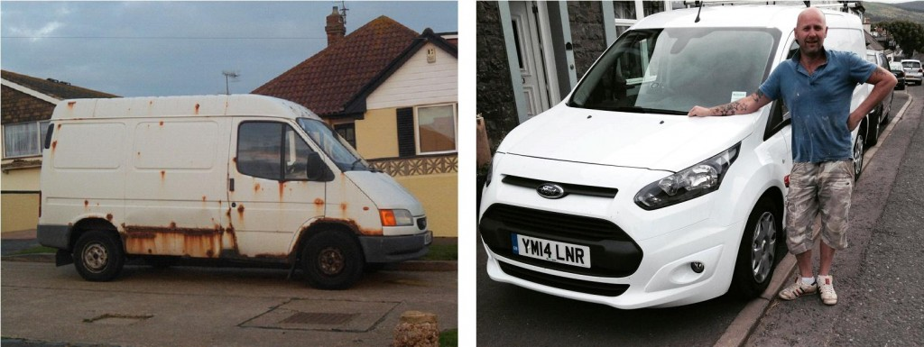 old and new van